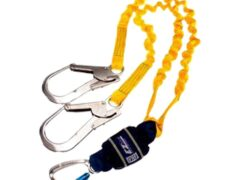DBI SALA EZ-Stop 2M Twin Leg Elasticated Expander Webbing Shock Absorbing Lanyard with Scaffold Hook 1245534